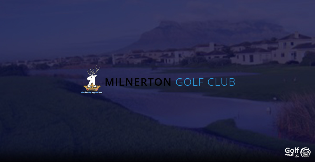 Milnerton Golf Club logo with the Milnerton Golf Course, Table Mountain, Lion's Head, and Blouberg Strand in the far background