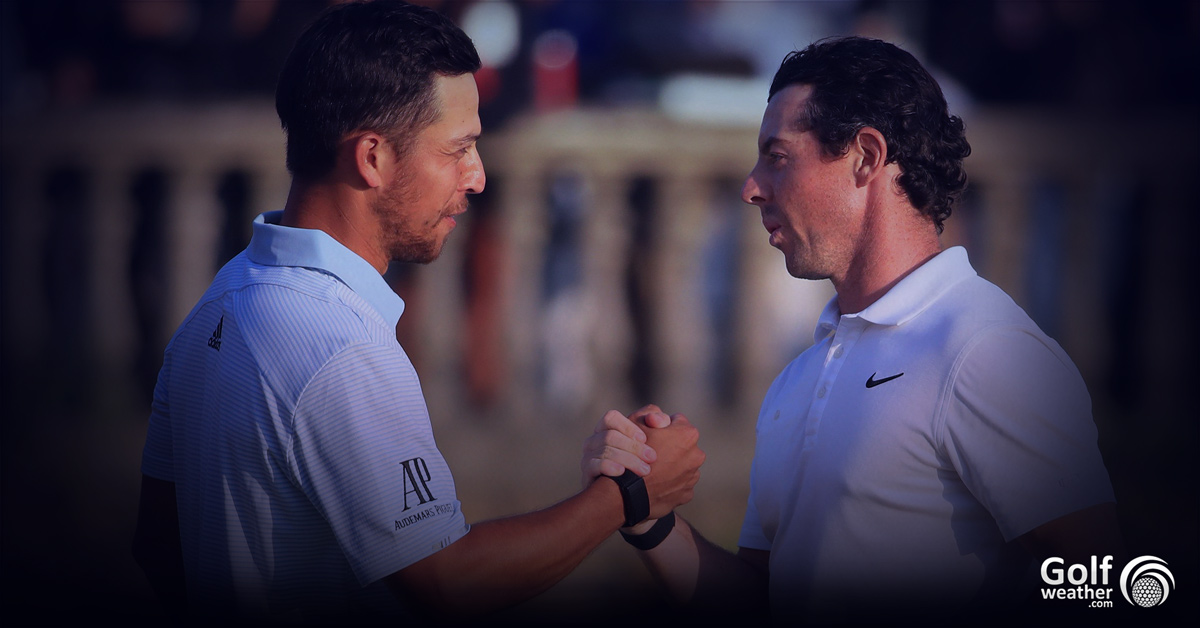 Xander Schauffele shakes hands with Rory McIlroy to congradulate McIlroy on his third WGC-HSBC Champions victory after their play-off battle at the Sheshan International Golf Club in China.