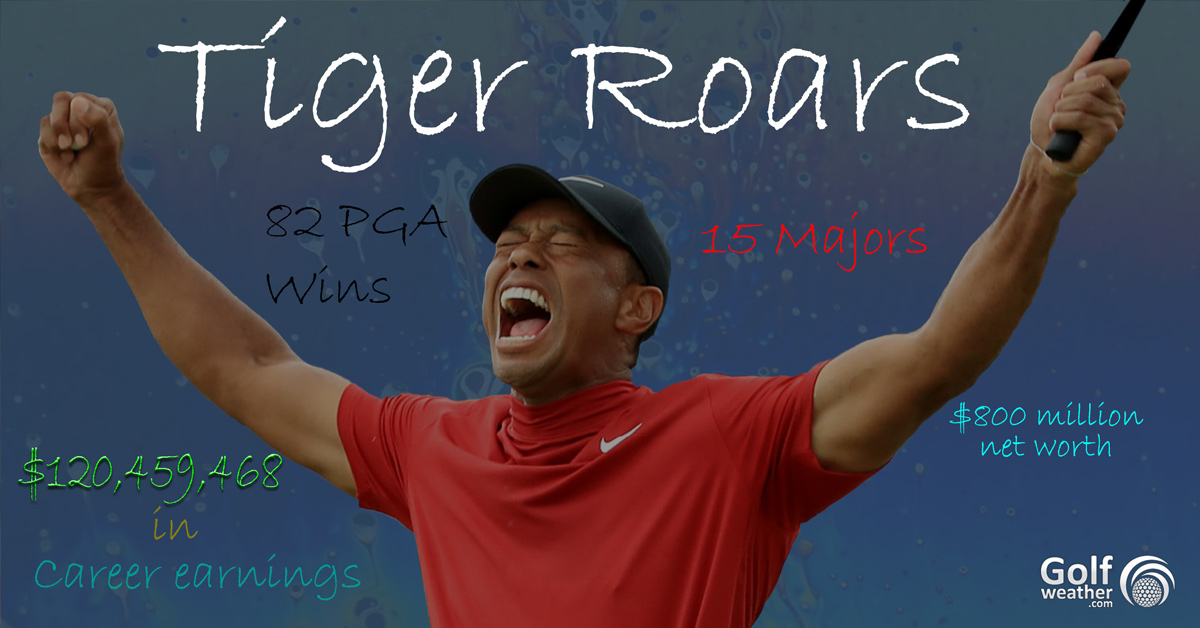Woods Dramatic Victories, career earnings, net worth after Accordia Golf Narashino Country Club
