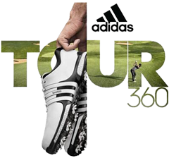 c264630c8bc4 the adidas Golf logo and TOUR360 shoe banner